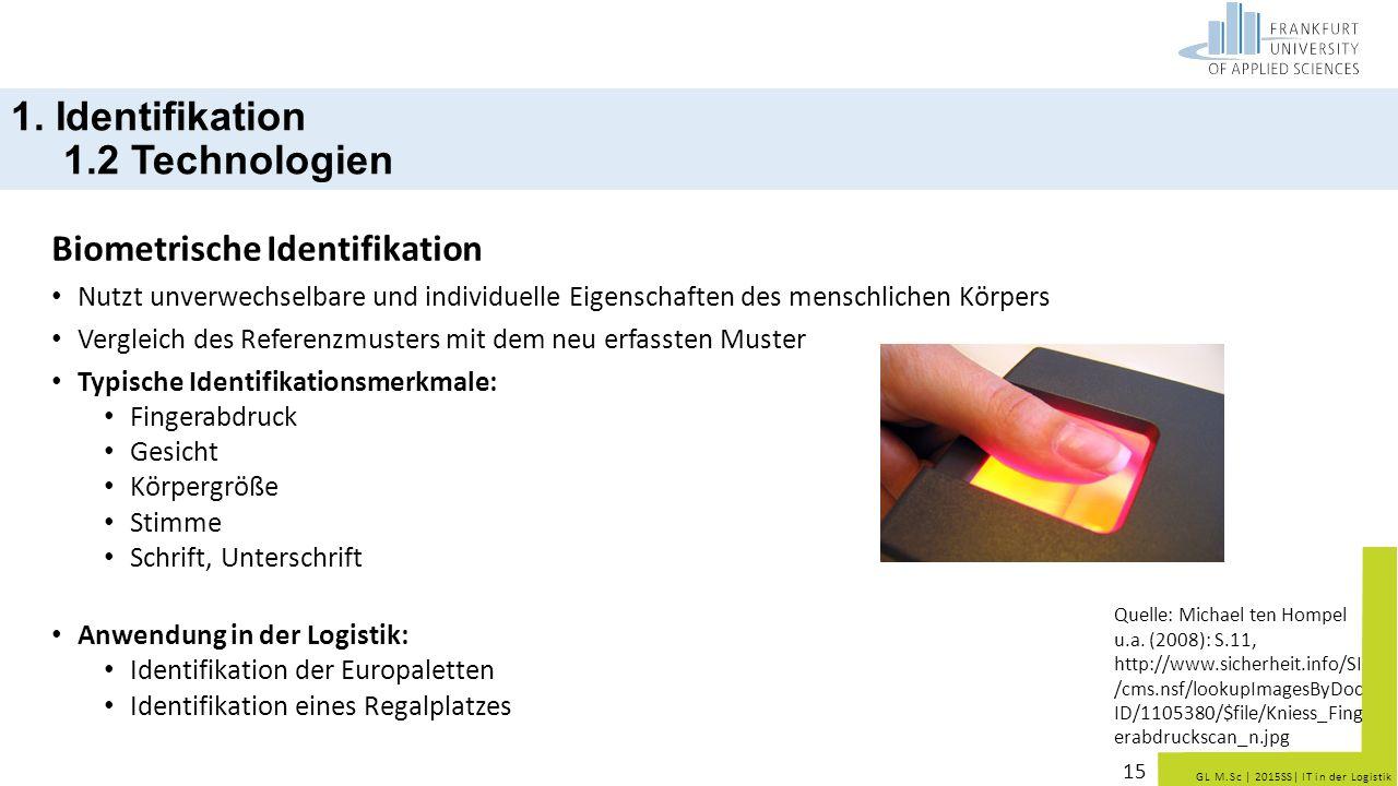 GL M.Sc   2015SS  IT in der Logistik Biometrische Identifikation Nutzt unverwechselbare und individuelle Eigenschaften des menschlichen Körpers Vergle