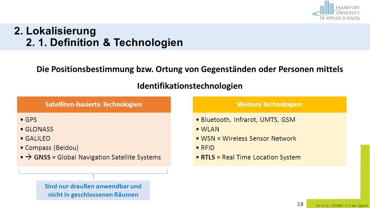 GL M.Sc   2015SS  IT in der Logistik 2. Lokalisierung 2. 1. Definition & Technologien Die Positionsbestimmung bzw. Ortung von Gegenständen oder Person