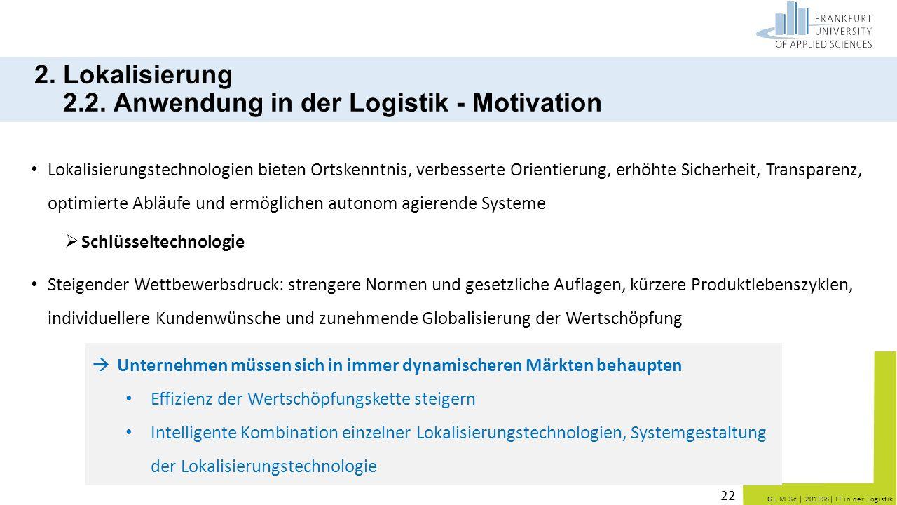 GL M.Sc   2015SS  IT in der Logistik 2. Lokalisierung 2.2. Anwendung in der Logistik - Motivation Lokalisierungstechnologien bieten Ortskenntnis, verb