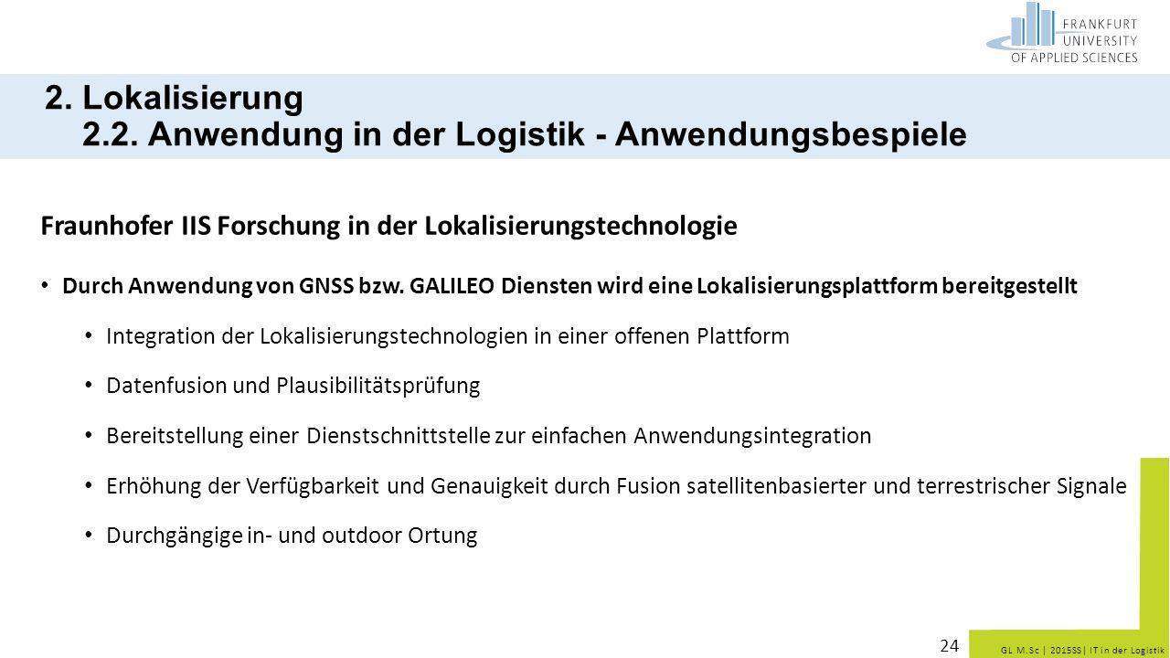 GL M.Sc   2015SS  IT in der Logistik 2. Lokalisierung 2.2. Anwendung in der Logistik - Anwendungsbespiele Fraunhofer IIS Forschung in der Lokalisierun