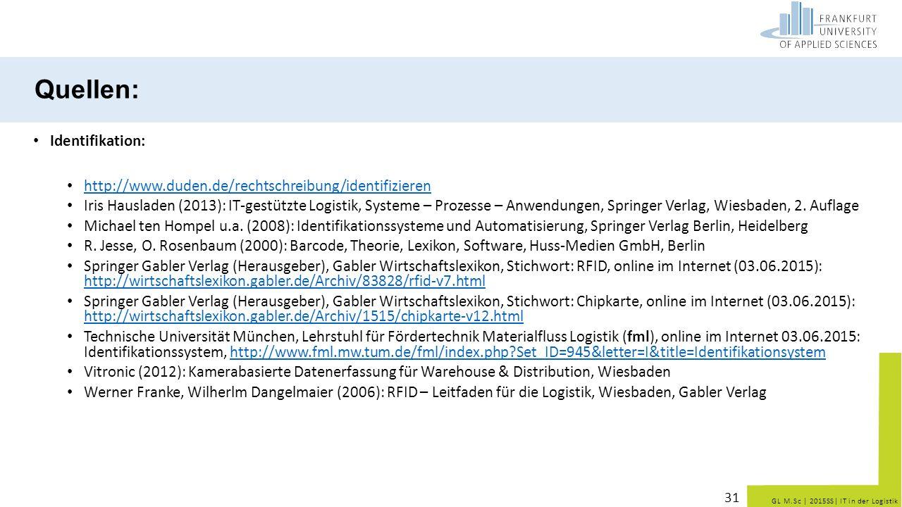 GL M.Sc   2015SS  IT in der Logistik Quellen: Identifikation: http://www.duden.de/rechtschreibung/identifizieren Iris Hausladen (2013): IT-gestützte L