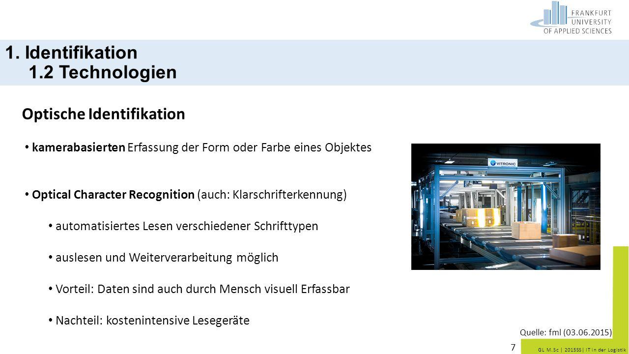 GL M.Sc   2015SS  IT in der Logistik 1. Identifikation 1.2 Technologien Optische Identifikation 7 kamerabasierten Erfassung der Form oder Farbe eines