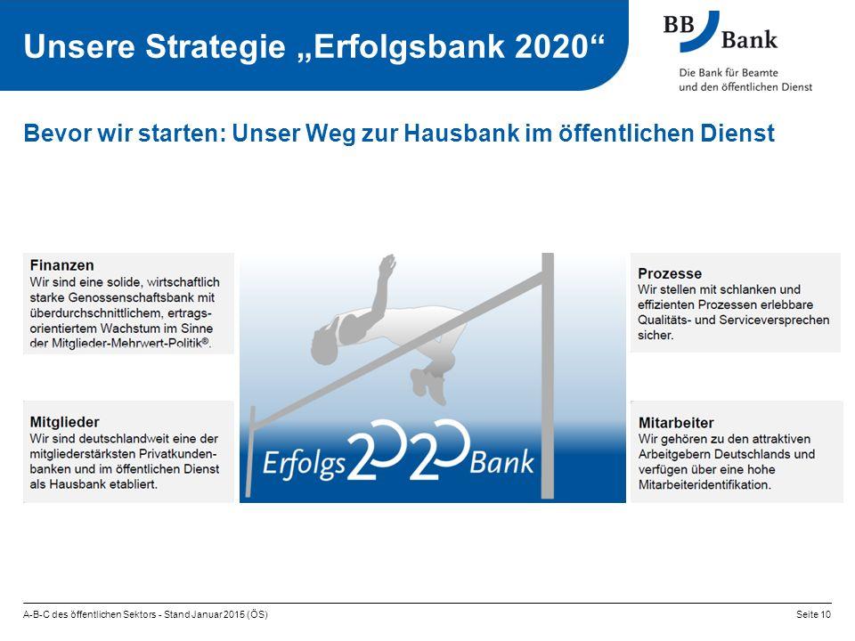 """A-B-C des öffentlichen Sektors - Stand Januar 2015 (ÖS)Seite 10 Bevor wir starten: Unser Weg zur Hausbank im öffentlichen Dienst Unsere Strategie """"Erfolgsbank 2020"""