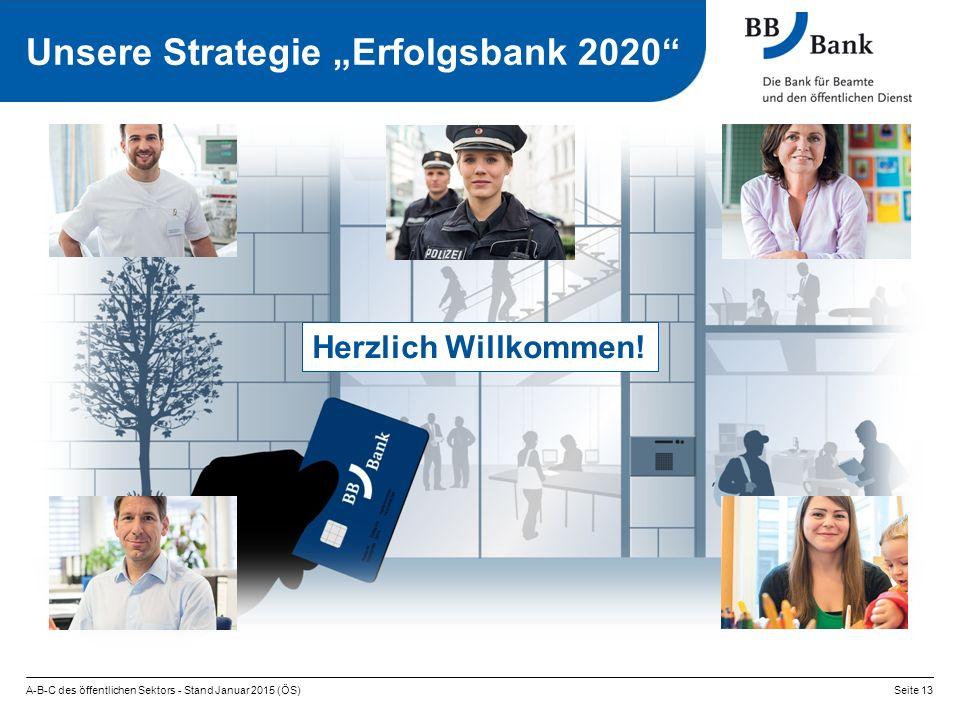 """A-B-C des öffentlichen Sektors - Stand Januar 2015 (ÖS)Seite 13 Unsere Strategie """"Erfolgsbank 2020 Herzlich Willkommen!"""