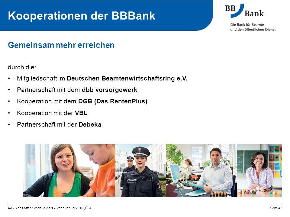 A-B-C des öffentlichen Sektors - Stand Januar 2015 (ÖS)Seite 47 Kooperationen der BBBank Gemeinsam mehr erreichen durch die: Mitgliedschaft im Deutschen Beamtenwirtschaftsring e.V.