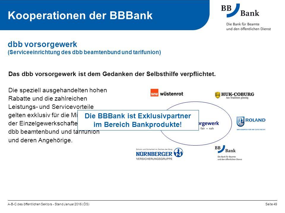 A-B-C des öffentlichen Sektors - Stand Januar 2015 (ÖS)Seite 49 dbb vorsorgewerk (Serviceeinrichtung des dbb beamtenbund und tarifunion) Kooperationen