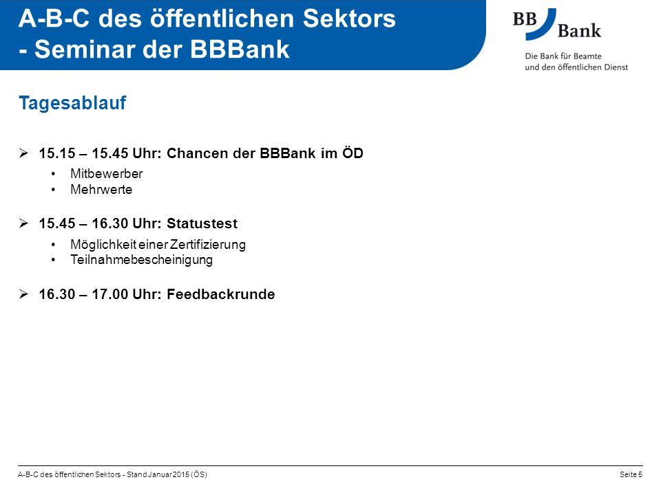 A-B-C des öffentlichen Sektors - Stand Januar 2015 (ÖS)Seite 5 A-B-C des öffentlichen Sektors - Seminar der BBBank  15.15 – 15.45 Uhr: Chancen der BB