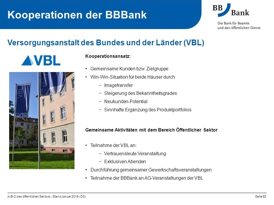 A-B-C des öffentlichen Sektors - Stand Januar 2015 (ÖS)Seite 52 Versorgungsanstalt des Bundes und der Länder (VBL) Kooperationen der BBBank Kooperationsansatz: Gemeinsame Kunden bzw.