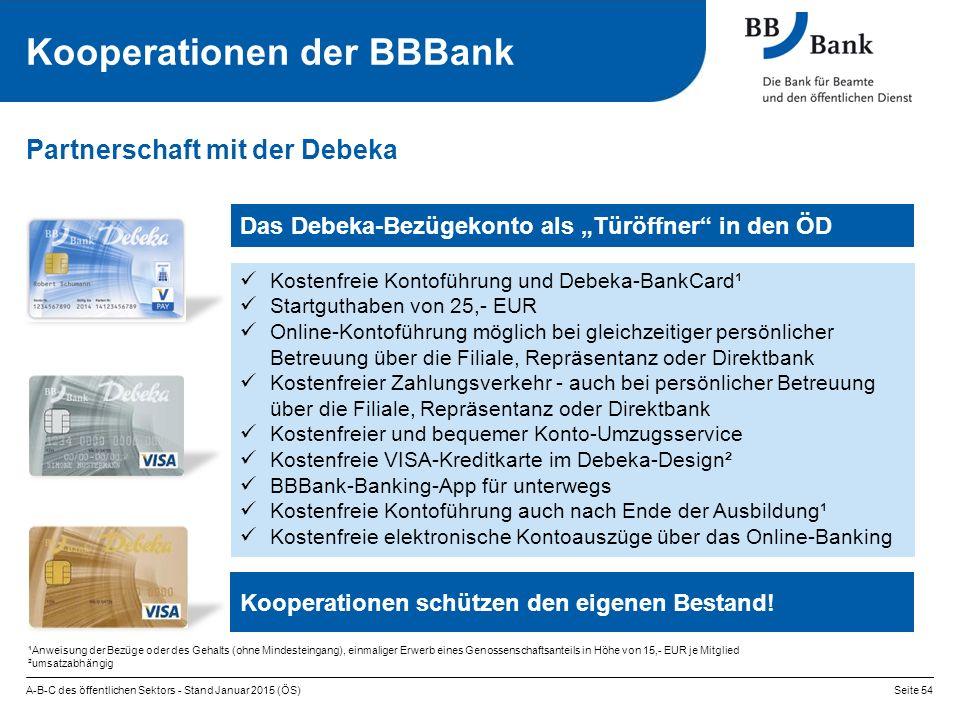 """A-B-C des öffentlichen Sektors - Stand Januar 2015 (ÖS)Seite 54 Kooperationen der BBBank Partnerschaft mit der Debeka Das Debeka-Bezügekonto als """"Türö"""