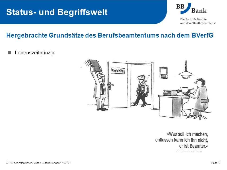 Hergebrachte Grundsätze des Berufsbeamtentums nach dem BVerfG Lebenszeitprinzip A-B-C des öffentlichen Sektors - Stand Januar 2015 (ÖS)Seite 67 Status