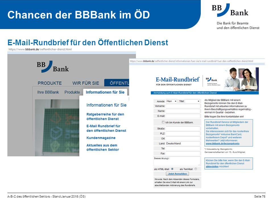 A-B-C des öffentlichen Sektors - Stand Januar 2015 (ÖS)Seite 75 E-Mail-Rundbrief für den Öffentlichen Dienst Chancen der BBBank im ÖD