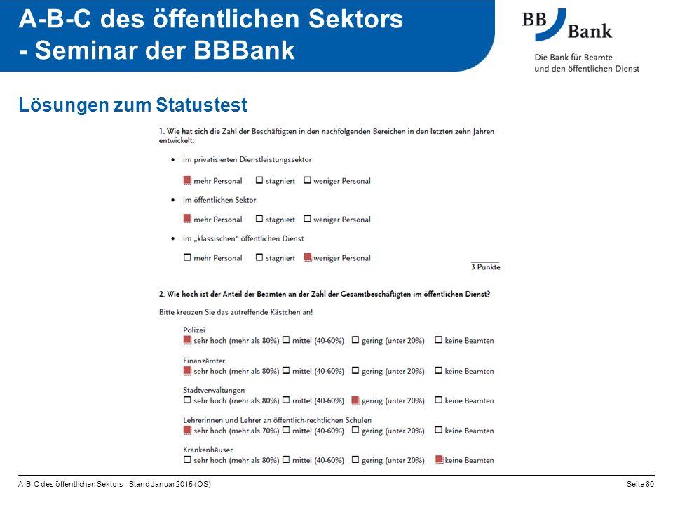 A-B-C des öffentlichen Sektors - Stand Januar 2015 (ÖS)Seite 80 A-B-C des öffentlichen Sektors - Seminar der BBBank Lösungen zum Statustest