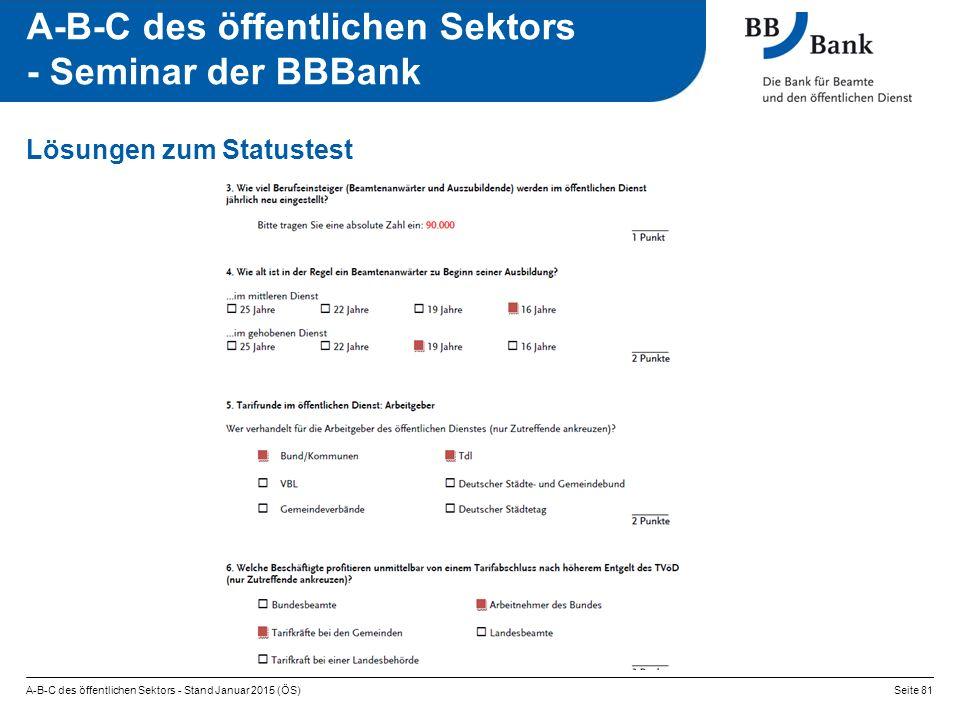 A-B-C des öffentlichen Sektors - Stand Januar 2015 (ÖS)Seite 81 A-B-C des öffentlichen Sektors - Seminar der BBBank Lösungen zum Statustest