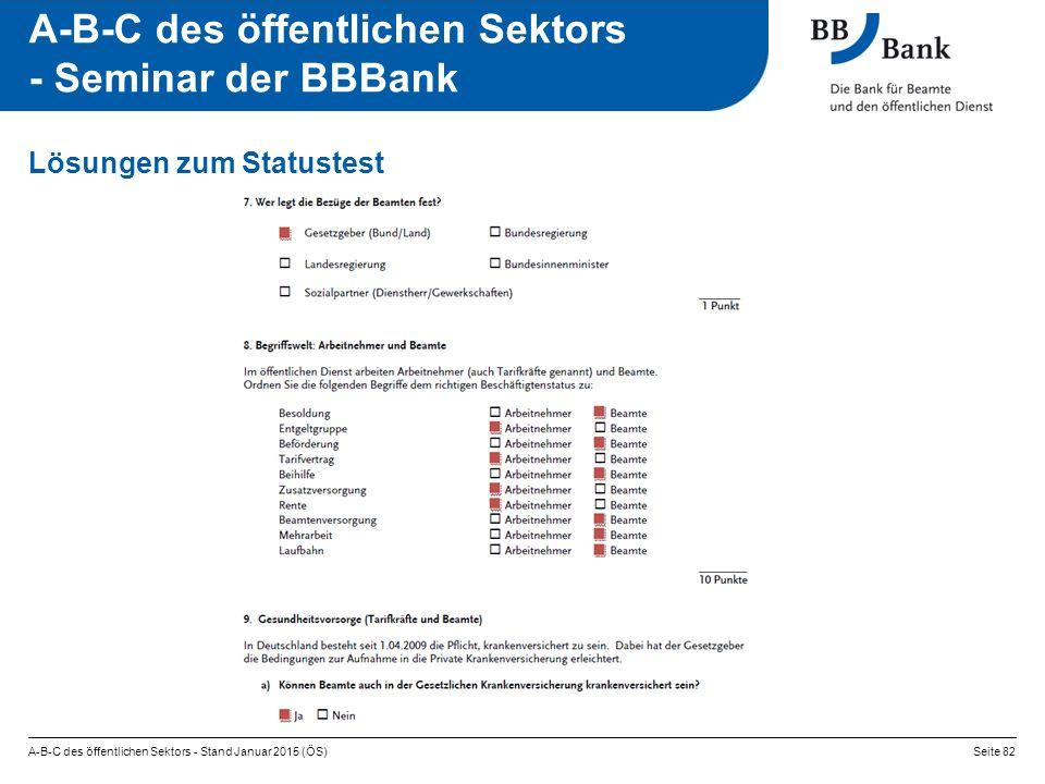 A-B-C des öffentlichen Sektors - Stand Januar 2015 (ÖS)Seite 82 A-B-C des öffentlichen Sektors - Seminar der BBBank Lösungen zum Statustest