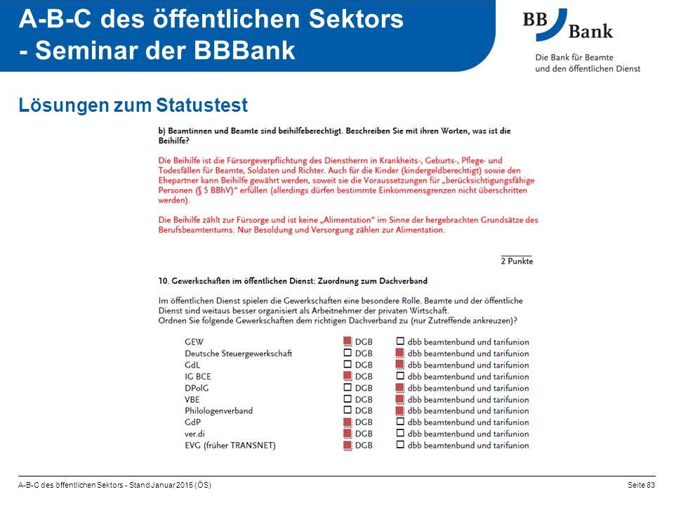 A-B-C des öffentlichen Sektors - Stand Januar 2015 (ÖS)Seite 83 A-B-C des öffentlichen Sektors - Seminar der BBBank Lösungen zum Statustest