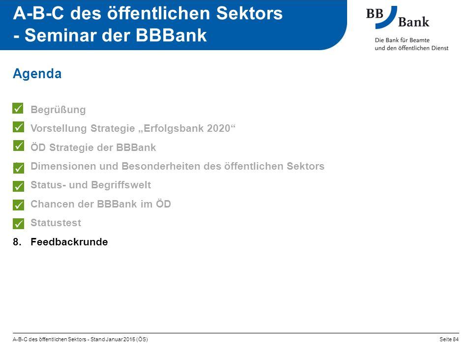 """A-B-C des öffentlichen Sektors - Stand Januar 2015 (ÖS)Seite 84 A-B-C des öffentlichen Sektors - Seminar der BBBank 1.Begrüßung 2.Vorstellung Strategie """"Erfolgsbank 2020 3.ÖD Strategie der BBBank 4.Dimensionen und Besonderheiten des öffentlichen Sektors 5.Status- und Begriffswelt 6.Chancen der BBBank im ÖD 7.Statustest 8.Feedbackrunde Agenda"""