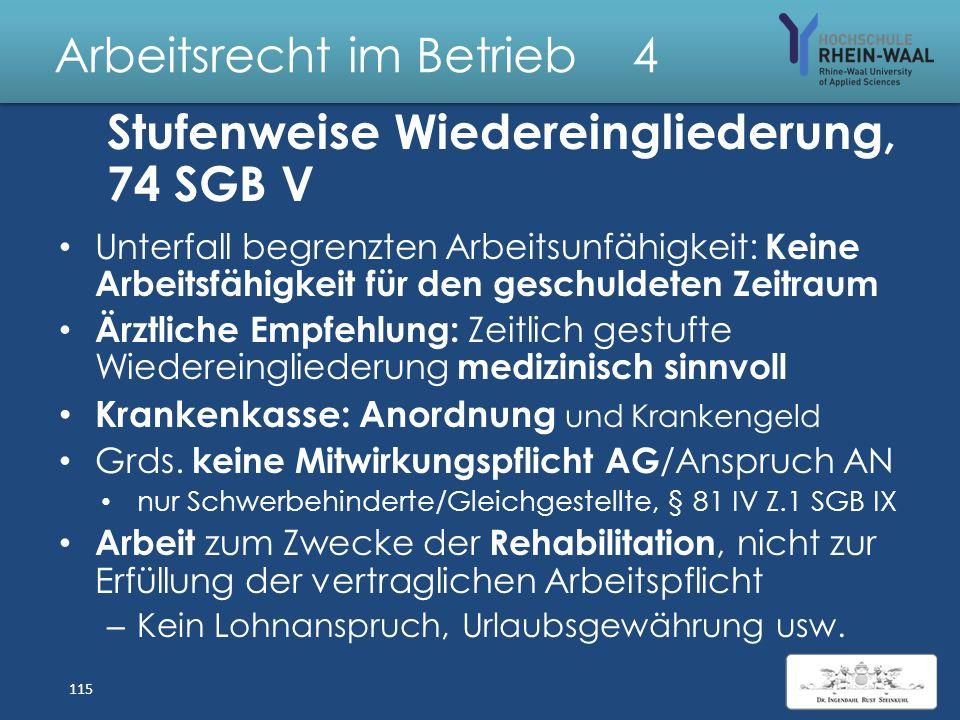 Arbeitsrecht im Betrieb 4 Krankenversicherung SGB V Träger: Krankenversicherungen, freie KK- Wahl, § 173 Krankheit, § 44 = § 3 Entgeltfortzahlungsgese