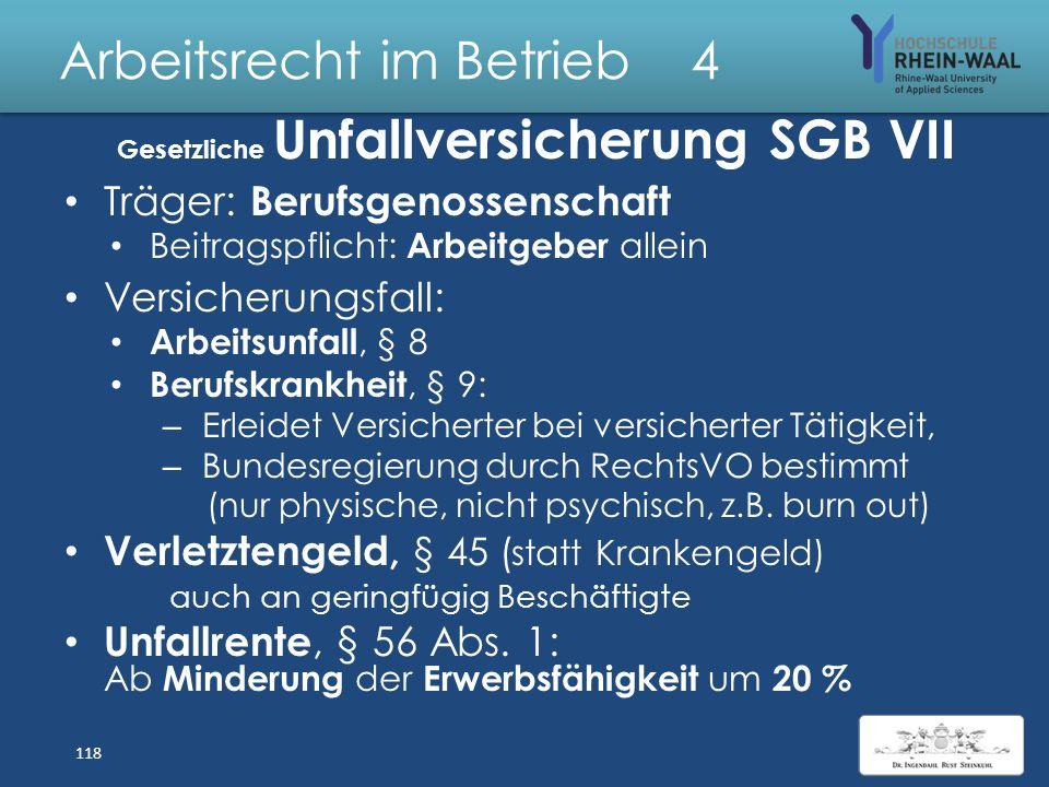Arbeitsrecht im Betrieb 4 Rentenversicherung SGB VI: Altersrente, §§ 35 - 40: Regelaltersgrenze: 67/ 65 Jahre Wartezeit: 35 / 45 / 25 Jahre Ist kein K