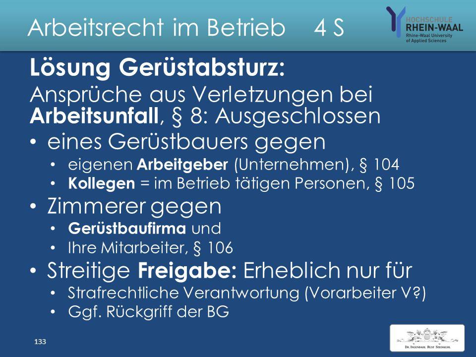 Arbeitsrecht im Betrieb 4 S Fall: Gerüstabsturz Fa. Gerüstbau GmbH erledigt alle Gerüstarbeiten auf den Solvay- Werken. Am 11.03.2013 rüstet sie ein B