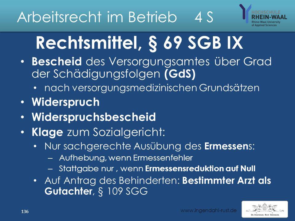 Arbeitsrecht im Betrieb 4 S Zustimmungsverfahren: Entscheidung Integrationsamt: Ermessen: Abwägung Interessen AG - Behinderter nicht aus Gründen der B