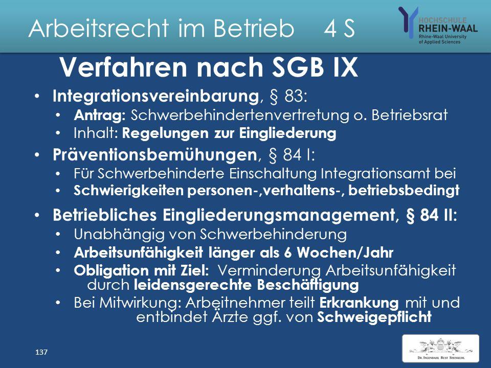 Arbeitsrecht im Betrieb 4 S Rechtsmittel, § 69 SGB IX Bescheid des Versorgungsamtes über Grad der Schädigungsfolgen (GdS) nach versorgungsmedizinische