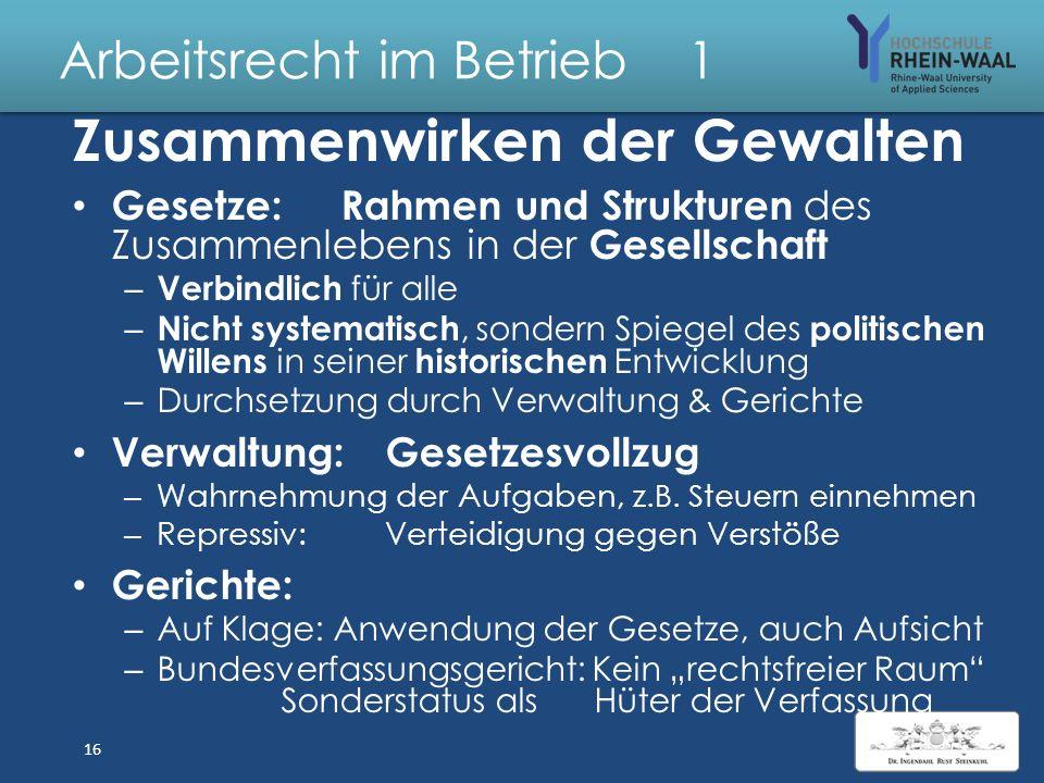 """Arbeitsrecht im Betrieb 1 Europäische Gemeinschaft """"EU"""" Grundgesetz: Staatsziel, Art. 23: Vereinigtes Europa Hoheitsrechte, Art. 24: Übertragung auf z"""