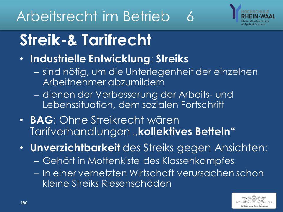 Arbeitsrecht im Betrieb 6 Anerkennung einer Gewerkschaft: Privatrechtliche Vereinigung freiwillig zusammengeschlossen demokratisch organisiert Bereits