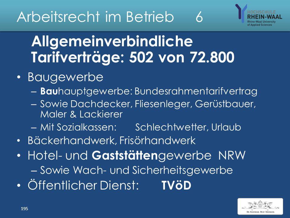 Arbeitsrecht im Betrieb 6 Allgemeinverbindlicherklärung Voraussetzungen, § 5 Abs. 1 TVG: – Antrag einer Tarifpartei, – Rechtswirksamer Inlands tarifve