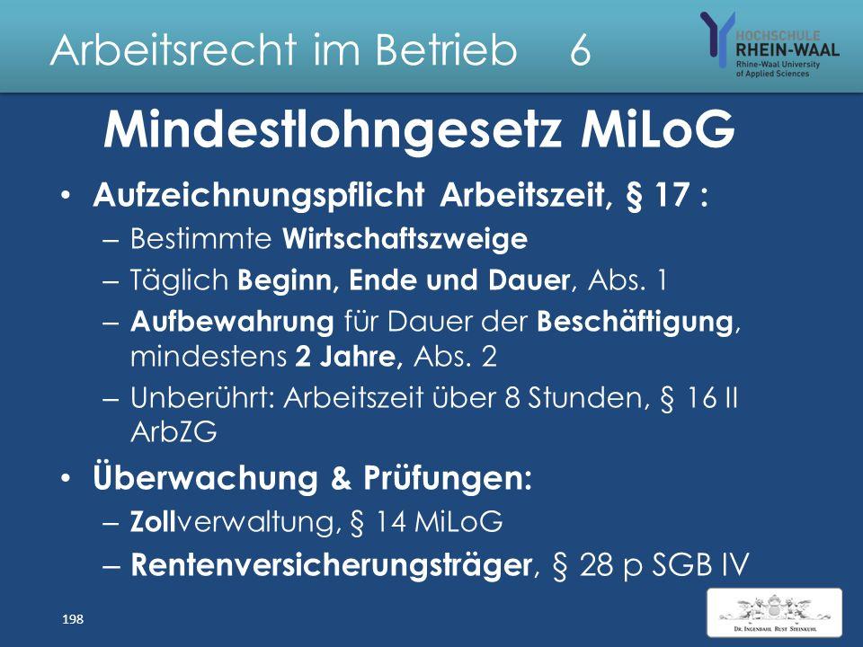Arbeitsrecht im Betrieb 6 Mindestlohngesetz MiLoG Ausnahmen : – Einfühlungsarbeitsverhältnis bis max. 1 Woche – Minderjährige ohne abgeschlossene Beru