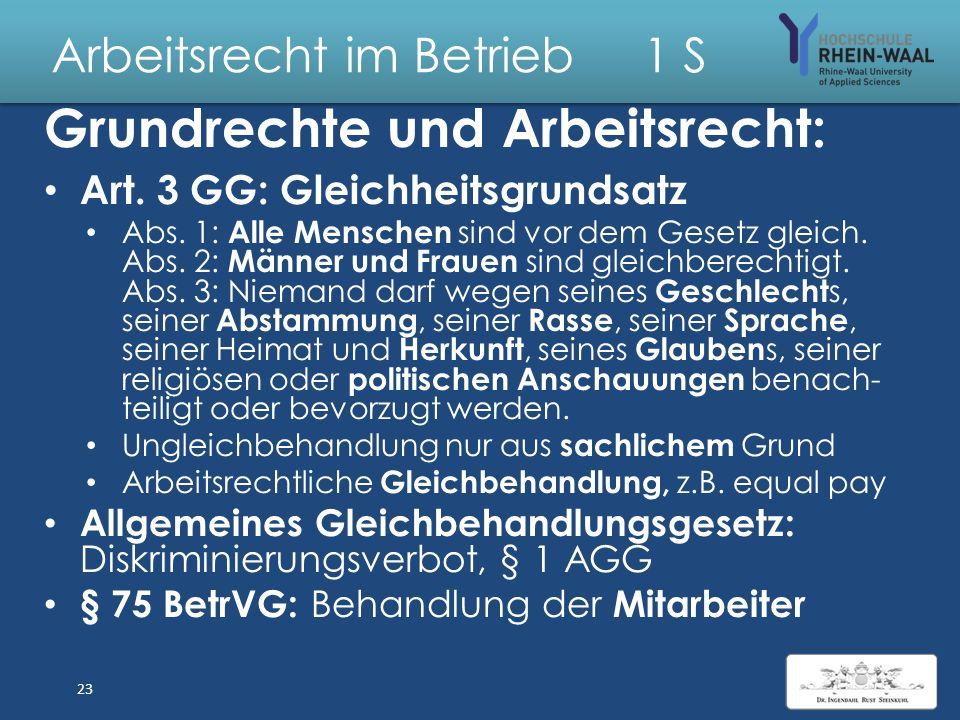 Arbeitsrecht im Betrieb 1 S Ausstrahlung Grundrechte auf Arbeitsverhältnis : Verpflichtung AG Glauben sfreiheit, Art. 4: Kopftuch am Arbeitsplatz: Ein
