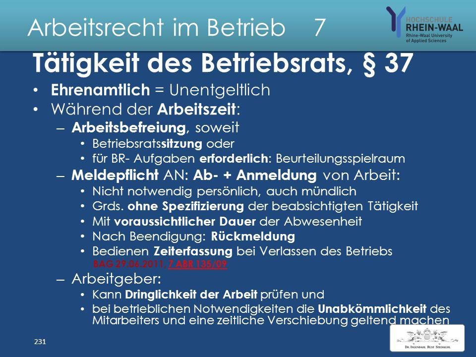 Arbeitsrecht im Betrieb 7 Betriebsverfassung BetrVG: Betriebsrat: Gewählte Mitglieder - bis Erlöschen, § 24 Ersatzmitglieder rücken nach, § 25 I für –