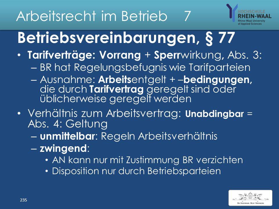 Arbeitsrecht im Betrieb 7 Betriebsvereinbarung, § 77 Privatrechtlicher Vertrag zwischen AG und BR zu betriebsverfassungsrechtlichen Themen. Abschluss
