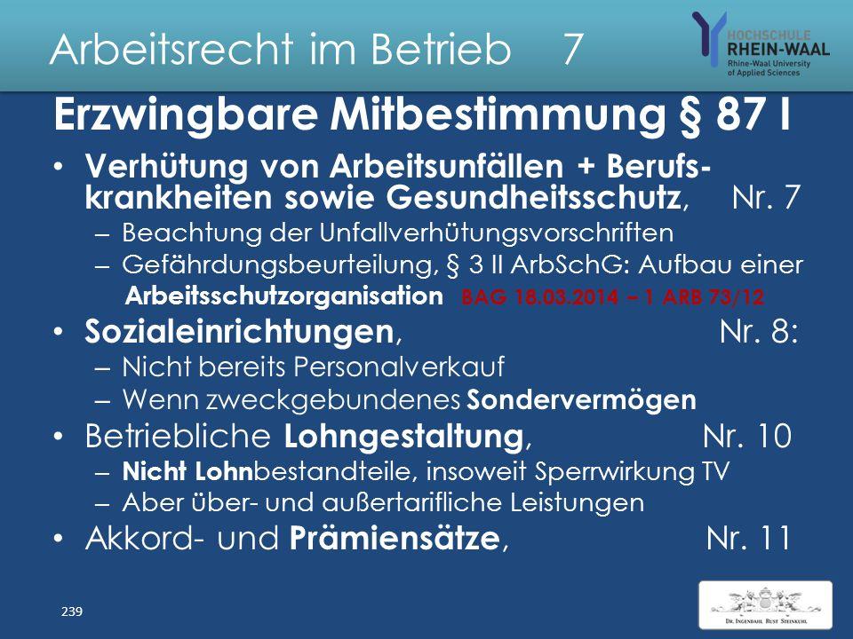 Arbeitsrecht im Betrieb 7 Erzwingbare Mitbestimmung § 87 I Ordnung des Betriebs + Verhalten AN, Nr. 1 – Klassisch: Rauch- und Alkoholverbote – Kollekt