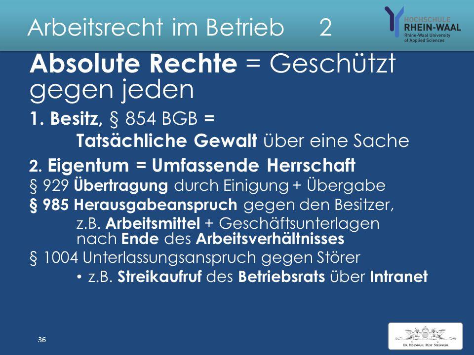 Arbeitsrecht im Betrieb 2 G Personengesellschaften Vertretung durch Gesellschaft bürgerlichen Rechts, § 705 BGB Gemeinsamer Zweck: beliebig alle Gesel