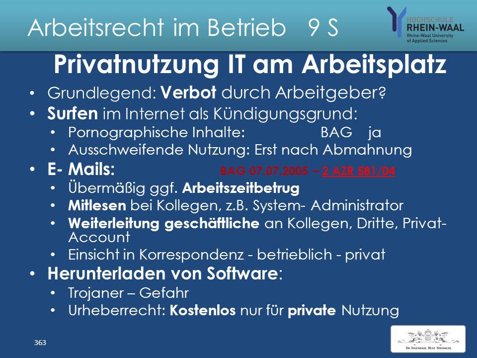 Arbeitsrecht im Betrieb 9 S bring your own device byod: Private PC- Geräte, Smartphones E- Mails: Sicherung Sicherheit Datenübertragung Zugriff auf be