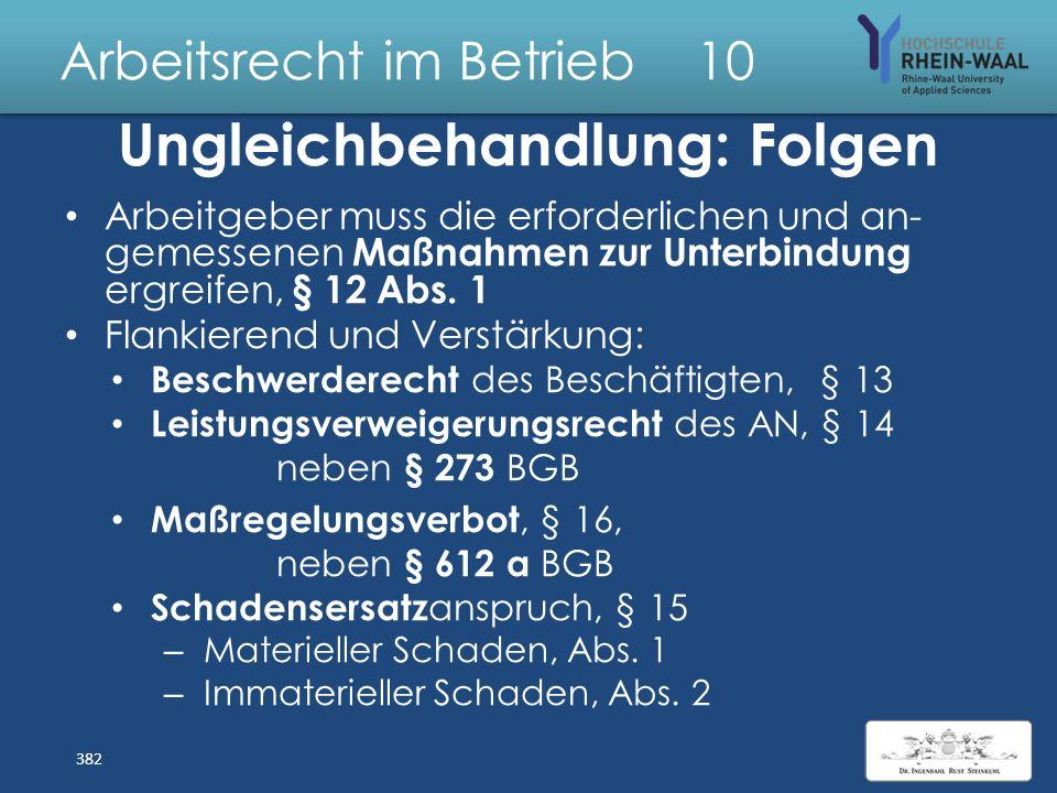 Arbeitsrecht im Betrieb 10 Rechtfertigung Diskriminierung Nachteile verhindert oder ausgeglichen, § 5: Durch geeignete und angemessene Maßnahmen Z.B.