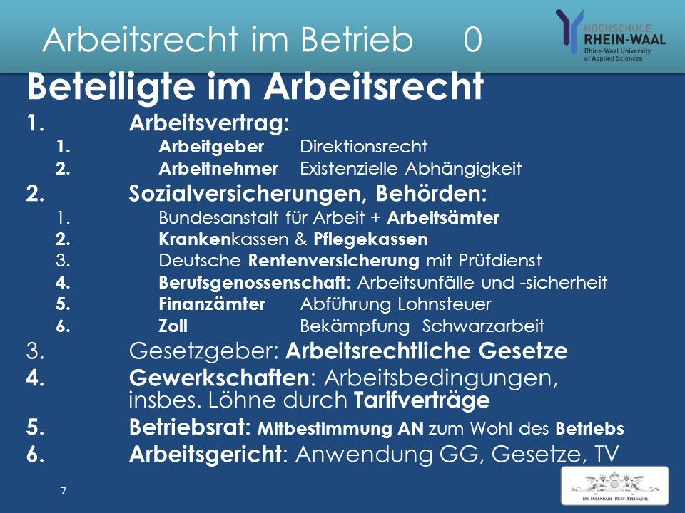 Arbeitsrecht im Betrieb 7 4.Form: Keine, dringend empfohlen: schriftlich 5.