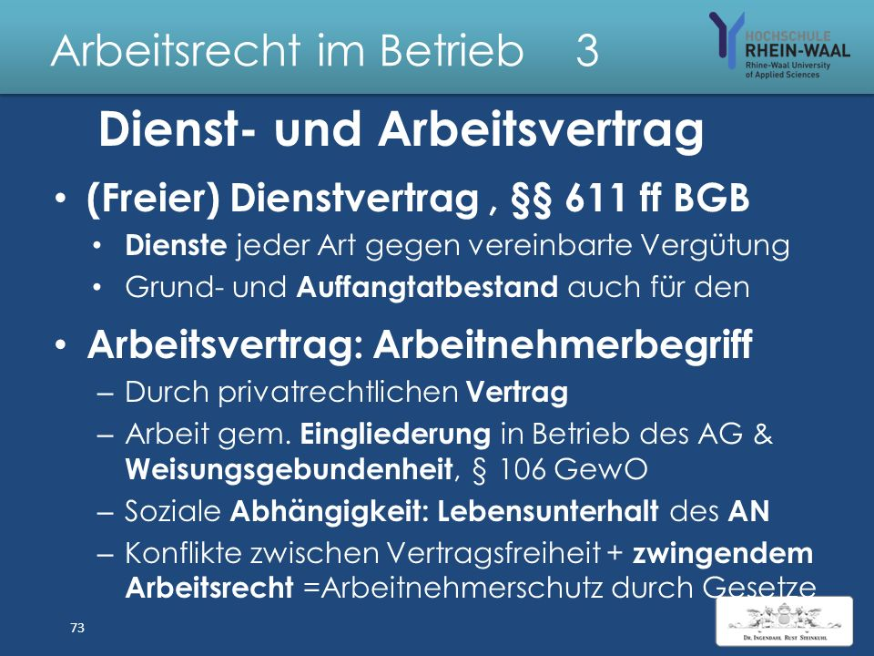 Arbeitsrecht im Betrieb 3 Dienstverträge & Arbeitsverhältnisse 72