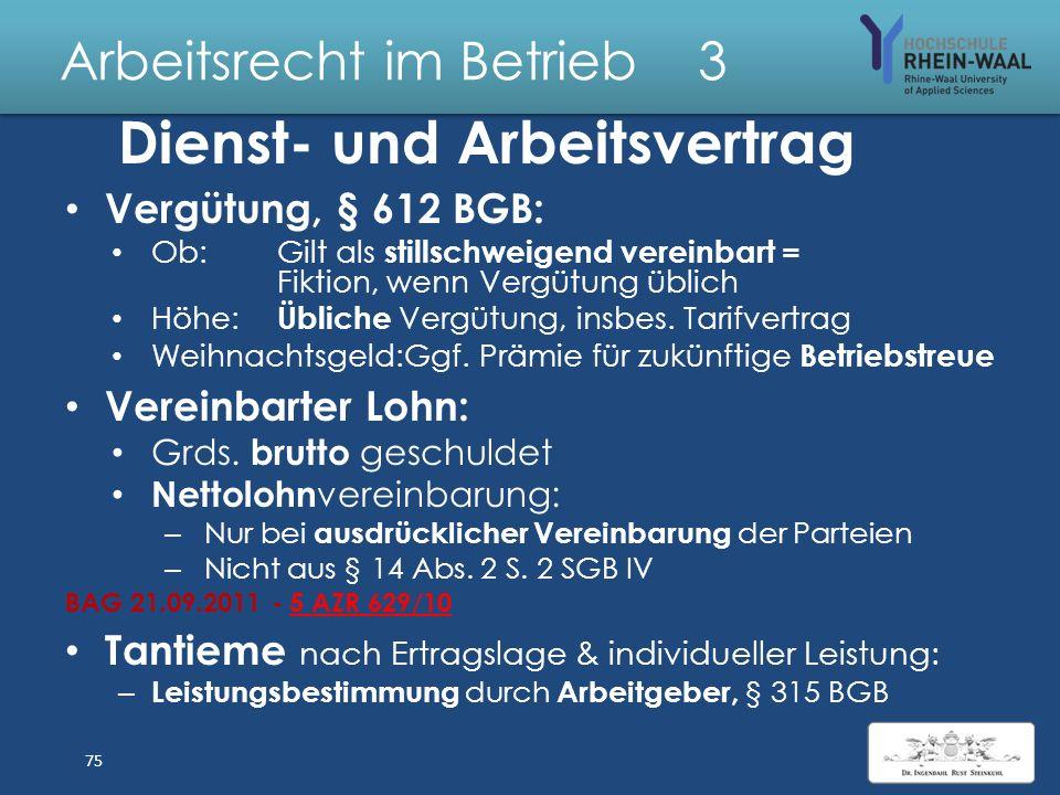 Arbeitsrecht im Betrieb 3 Arbeitsverhältnis Zivilrecht, Grundlage §§ 611 ff BGB: Arbeitsverträge: Vertragsfreiheit: Angebot + Annahme Formfrei: Nachwe