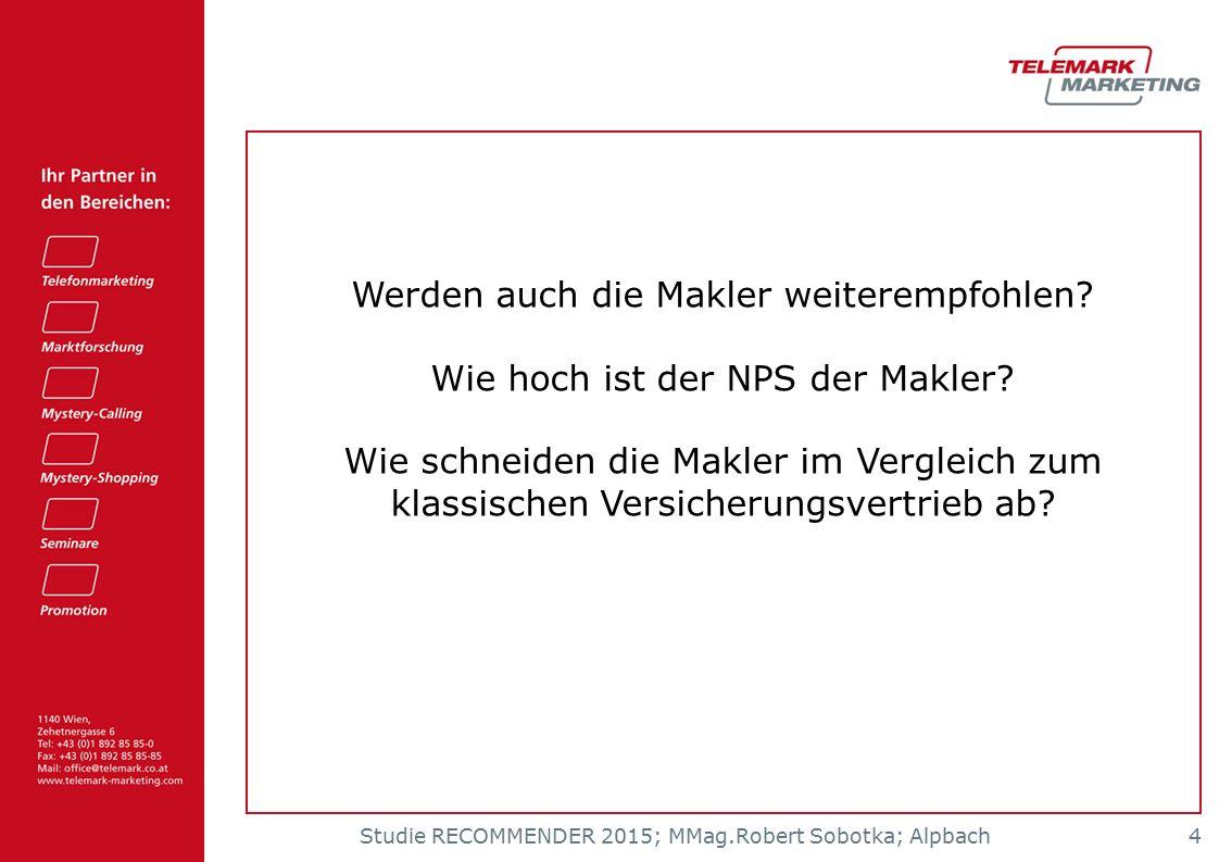 Studie RECOMMENDER 2015; MMag.Robert Sobotka; Alpbach 4 Werden auch die Makler weiterempfohlen? Wie hoch ist der NPS der Makler? Wie schneiden die Mak
