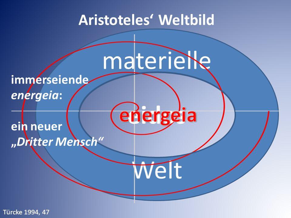 """materielle Welt eidos Aristoteles' Weltbild immerseiende energeia: ein neuer """"Dritter Mensch"""" Türcke 1994, 47"""