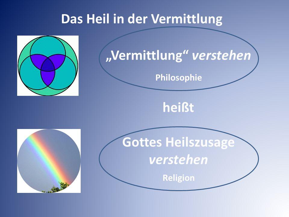 """""""Vermittlung"""" verstehen heißt Gottes Heilszusage verstehen Religion Philosophie Das Heil in der Vermittlung"""