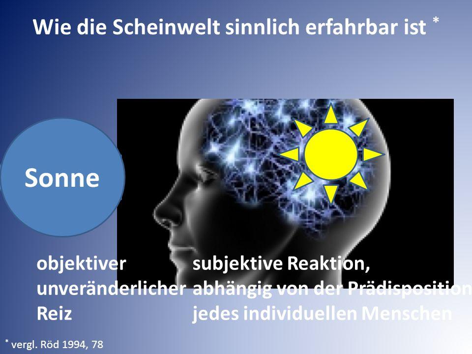 Sonne objektiver unveränderlicher Reiz subjektive Reaktion, abhängig von der Prädisposition jedes individuellen Menschen * vergl. Röd 1994, 78 Wie die