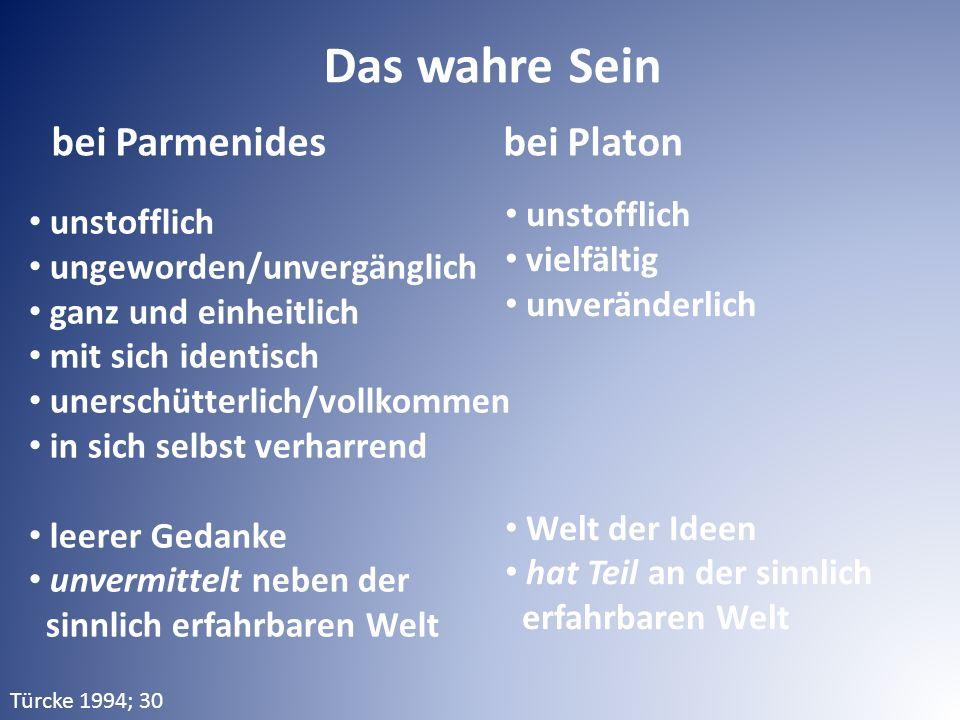 bei Parmenides bei Platon Das wahre Sein unstofflich ungeworden/unvergänglich ganz und einheitlich mit sich identisch unerschütterlich/vollkommen in s