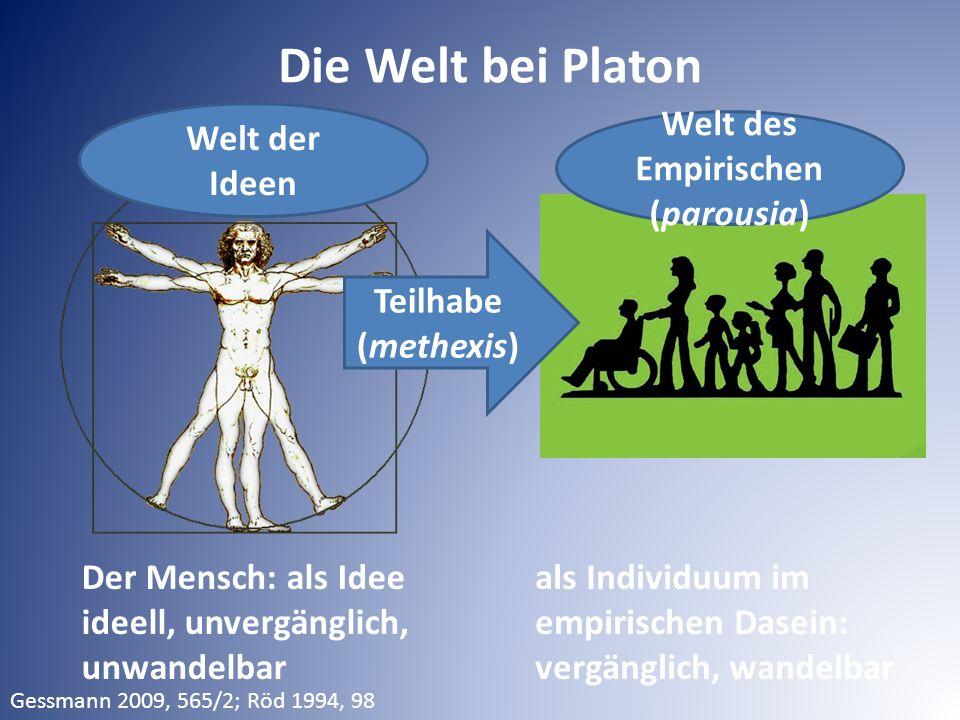 Die Welt bei Platon Der Mensch: als Idee ideell, unvergänglich, unwandelbar als Individuum im empirischen Dasein: vergänglich, wandelbar Welt des Empi