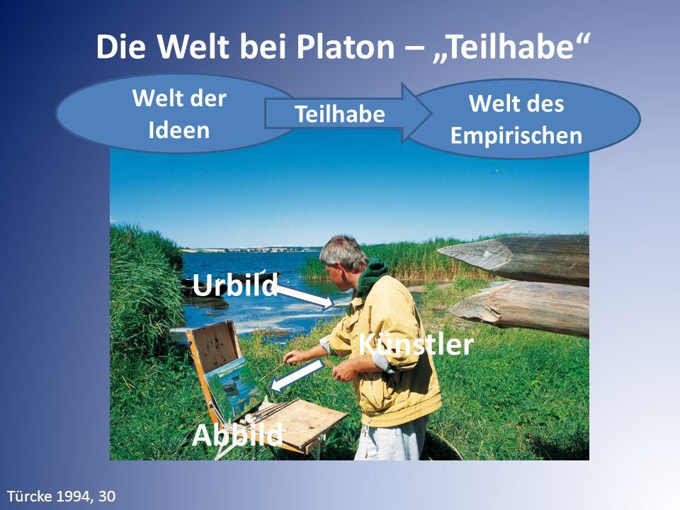 """Welt der Ideen Die Welt bei Platon – """"Teilhabe"""" Welt des Empirischen Teilhabe Urbild Künstler Abbild Türcke 1994, 30"""