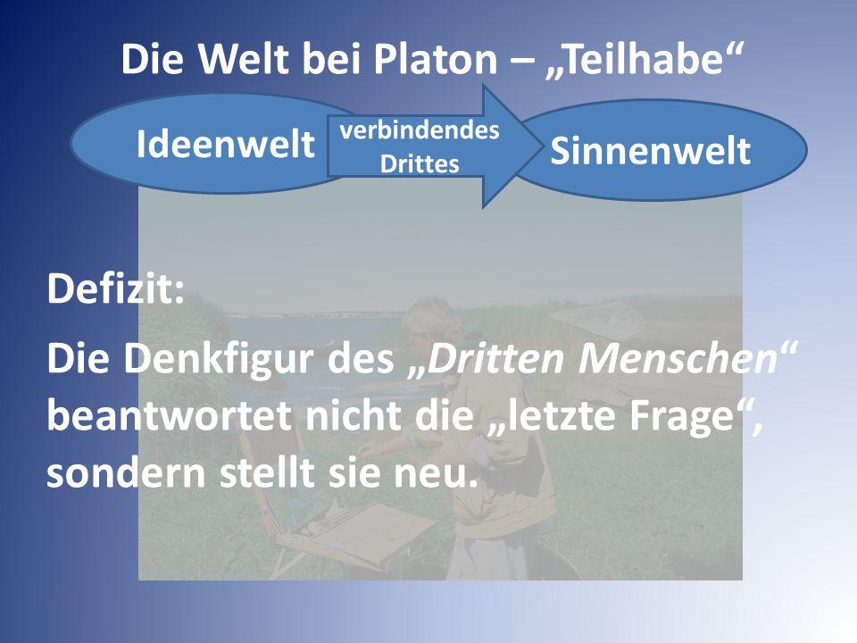 """Ideenwelt Die Welt bei Platon – """"Teilhabe"""" Sinnenwelt verbindendes Drittes Defizit: Die Denkfigur des """"Dritten Menschen"""" beantwortet nicht die """"letzte"""