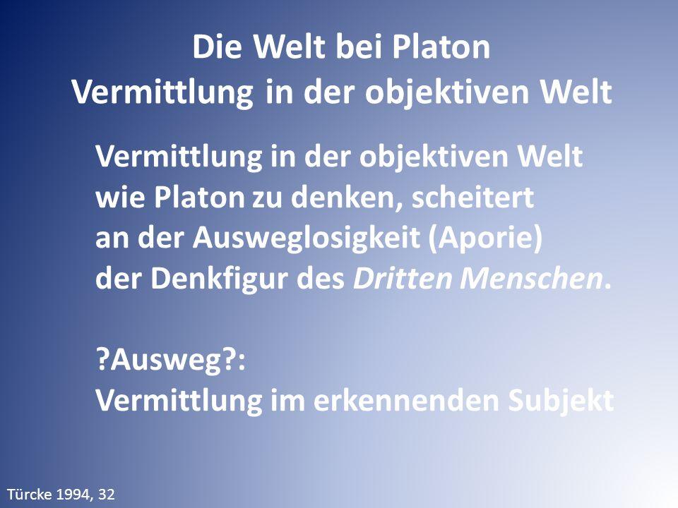 Vermittlung in der objektiven Welt wie Platon zu denken, scheitert an der Ausweglosigkeit (Aporie) der Denkfigur des Dritten Menschen. ?Ausweg?: Vermi