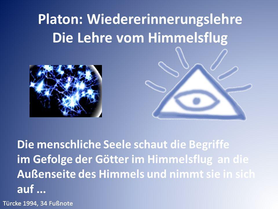 Platon: Wiedererinnerungslehre Die Lehre vom Himmelsflug Die menschliche Seele schaut die Begriffe im Gefolge der Götter im Himmelsflug an die Außenseite des Himmels und nimmt sie in sich auf...