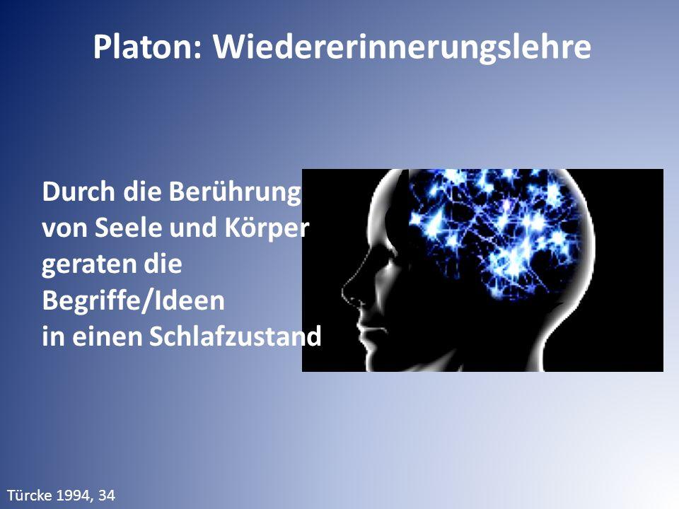 Platon: Wiedererinnerungslehre Durch die Berührung von Seele und Körper geraten die Begriffe/Ideen in einen Schlafzustand Türcke 1994, 34